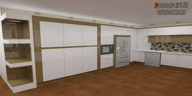 کابینت های گلاس سفید و طلایی