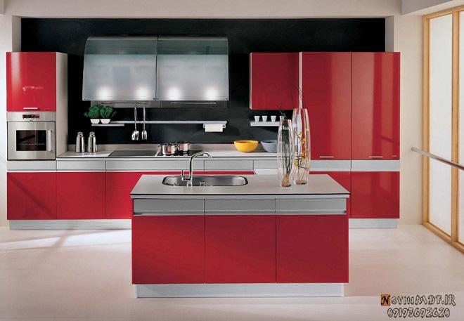 کابینت اشپزخانه قرمز