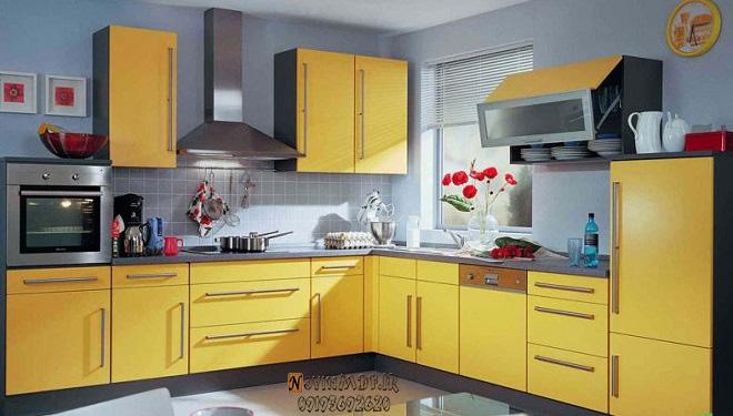 سفارش کابینت زرد برای آشپزخانه
