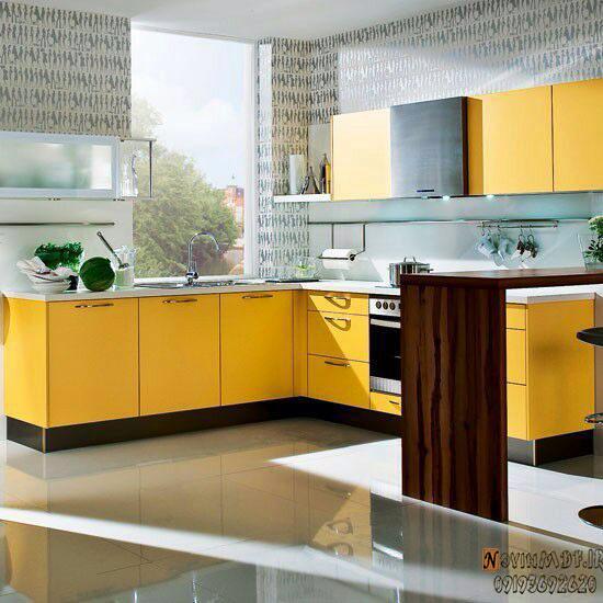 کابینت زرد برای آپزخانه