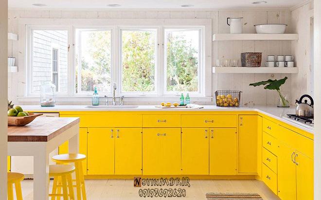 طراحی کابینت زرد برای آشپزخانه