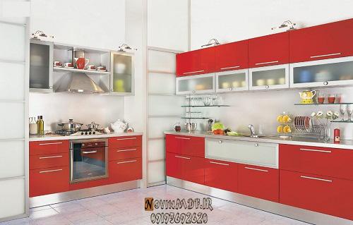 طراحی کابینت قرمز برای اشپزخانه