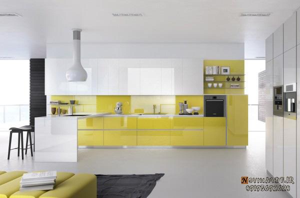 کابینت زرد اشپزخانه
